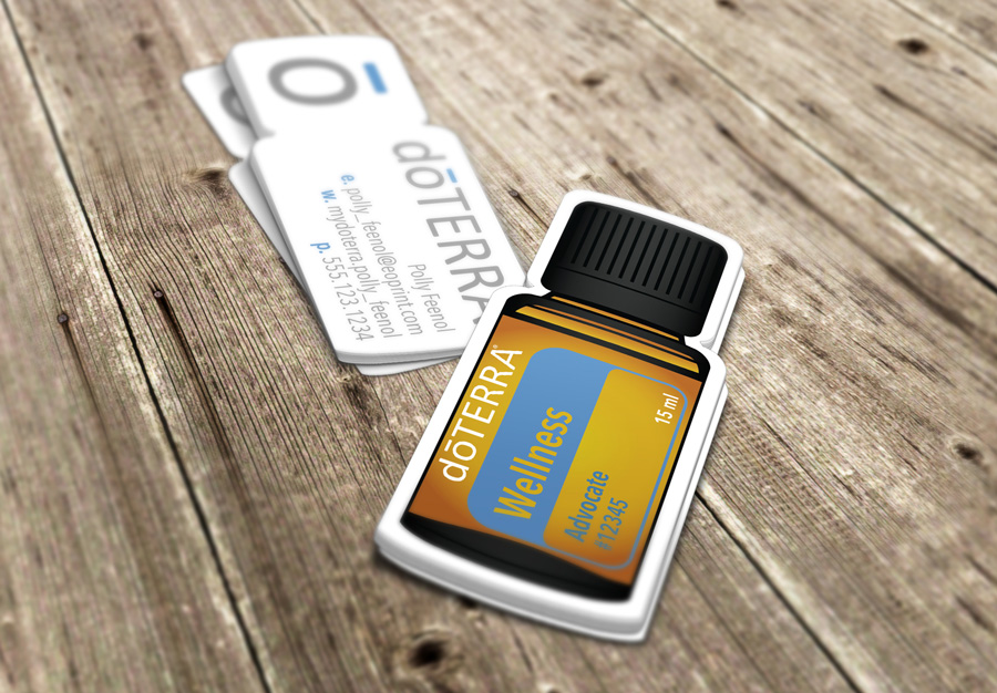 Essentialoilprint doterra business cards for wellness advocates doterra bottle die cut flashek Image collections