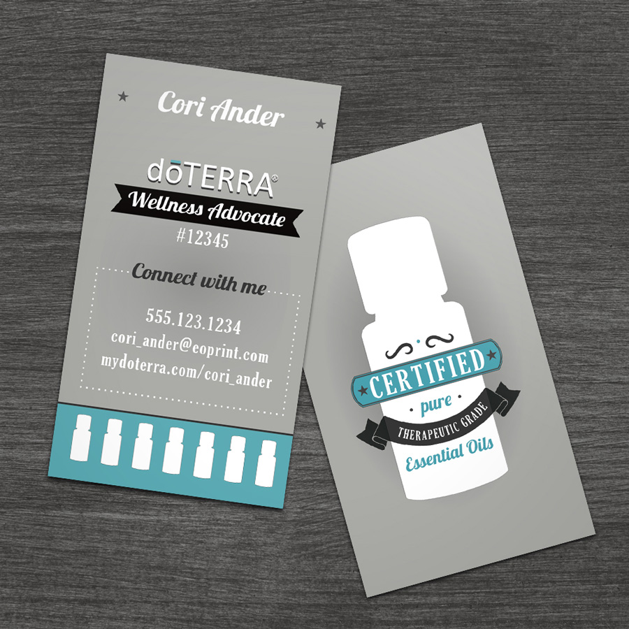 Essentialoilprint doterra business cards for wellness advocates retro bottle flashek Image collections