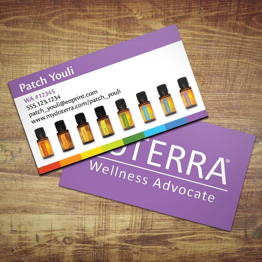 Essentialoilprint doterra business cards for wellness advocates row of bottles flashek Image collections